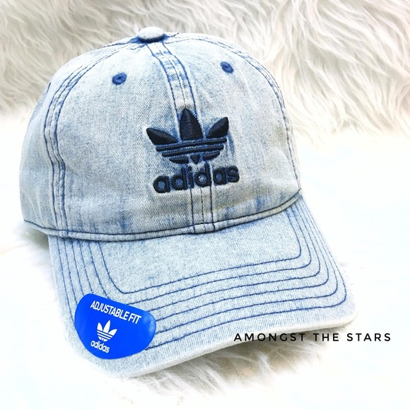 425ff11924e4b adidas Trefoil Washed Blue Denim Relaxed Dad Hat